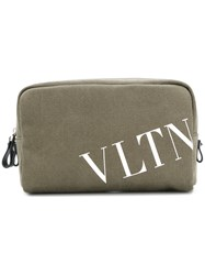 Valentino Logo Print Wash Bag Green