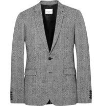 Sandro Grey Slim Fit Prince Of Wales Checked Wool And Cotton Blend Suit Jacket Black