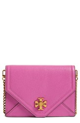 Tory Burch Kira Leather Envelope Clutch Purple Bright Orchid