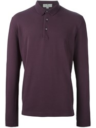 Canali Long Sleeve Polo Shirt Pink And Purple