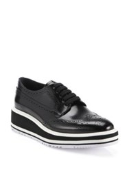 Prada Leather Brogue Platform Oxfords Black