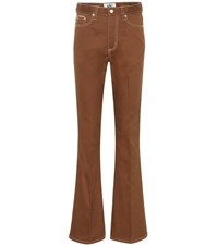 Eytys Oregon Twill High Rise Flared Jeans Brown