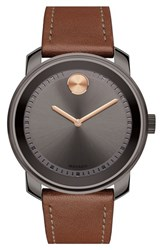 Movado 'Bold' Leather Strap Watch 43Mm