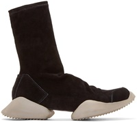 Black Suede Adidas By Rick Owens High Top Sneakers