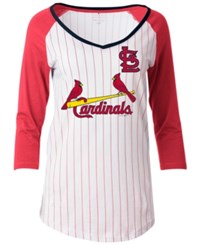 5Th And Ocean Women's St. Louis Cardinals Pinstripe Glitter Raglan T Shirt White