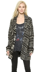 Free People Hidden Snowflake Cardigan Charcoal Combo