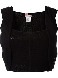 And Re Walker Woven Overlay Detail Cropped Top Black