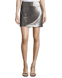 Halston Sequined Mini Skirt Antique Silver