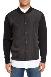 Calibrate Woven Front Sweater Jacket Black