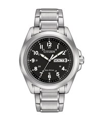 Citizen Eco Drive Sport Silvertone Stainless Steel Bracelet Watch
