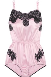 Dolce And Gabbana Lace Trimmed Satin Playsuit Baby Pink