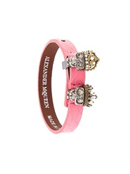 Alexander Mcqueen King And Queen Skull Bracelet Pink Purple