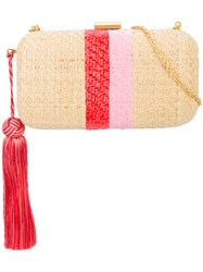 Kayu Tassel Detail Woven Clutch Bag Nude And Neutrals