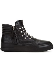 Bruno Bordese Studded Zipped Hi Top Sneakers Black