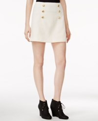 Kensie Quilted Button Detail Skirt Bone