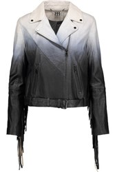 Haute Hippie Fringed Degrade Leather Biker Jacket Gray