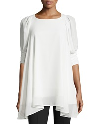 P. Luca Ruched Elbow A Line Tunic Off White