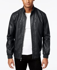 Calvin Klein Men's Faux Leather Bomber Jacket Black