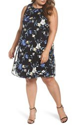 Eci Plus Size Women's Floral Embroidered A Line Dress Black Blue