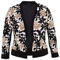Chesca Trim Fancy Floral Shrug Ivory Black