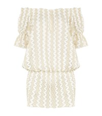 Melissa Odabash Crochet Off Shoulder Drop Waist Dress Female White