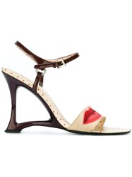 Prada Vintage Lip Print Wedge Sandals Nude And Neutrals
