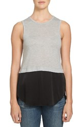 1.State Women's Crepe Hem Tank Swan Heather