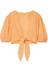 Lisa Marie Fernandez Cropped Broderie Anglaise Cotton Top Pastel Orange