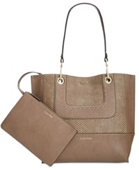 Calvin Klein Chain Reversible Tote With Pouch Dark Taupe Snake Stud