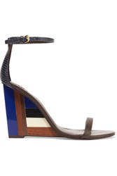 Tory Burch Leather And Perspex Wedge Sandals Dark Brown