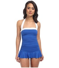 Lauren Ralph Lauren Bel Aire Shirred Bandeau Skirted Mio Slimming Fit One Piece Marina Blue Women's Swimsuits One Piece
