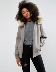 Asos Padded Bomber Jacket With Faux Fur Hood Khaki Green