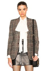 Saint Laurent Oversize Tweed Blazer In Brown Checkered And Plaid Brown Checkered And Plaid