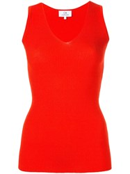 Ck Calvin Klein V Neck Ribbed Tank Top Red