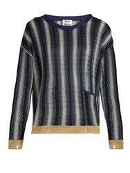 Acne Studios Blanca Round Neck Striped Jacquard Sweater Navy Stripe
