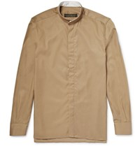 Freemans Sporting Club Grandad Collar Linen Shirt Tan