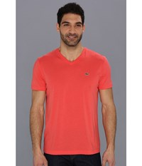 Lacoste S S Pima Jersey V Neck T Shirt Fusion Pink Men's Short Sleeve Pullover Red