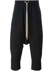 Rick Owens Cropped Drop Crotch Track Pants Black