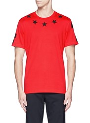 Givenchy '74' Print Star Patch T Shirt Red