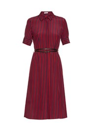 Altuzarra Kieran Striped Crepe De Chine Shirtdress Navy Stripe