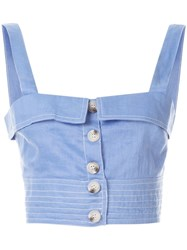 Suboo Buttoned Crop Top Blue