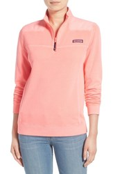 Women's Vineyard Vines 'Shep Overdyed' Quarter Zip Pullover Coral Sand