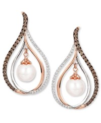 Le Vian Chocolatier Fresh Water Pearl 8Mm And Diamond 7 8 Ct. T.W. Drop Earrings In 14K White And Rose Gold Multi
