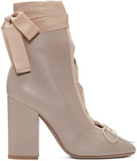 Valentino Beige Lace Up Ballerina Boots