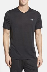 Men's Under Armour 'Ua Tech' Loose Fit Short Sleeve V Neck T Shirt Black Steel