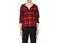 Adaptation Women's Plaid Cotton Wool Hoodie Red Black No Color