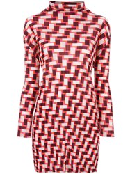 Issey Miyake Pleats Please By Geometric Print Long Blouse Red
