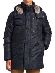 Madison Supply Camouflage Fox Fur Trim And Rabbit Fur Lined Down Parka
