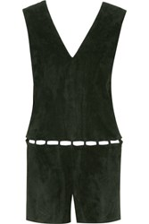 Emilio Pucci Cutout Suede Playsuit Army Green