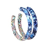Lele Sadoughi Oversized Broadway Hoop Earrings Blue